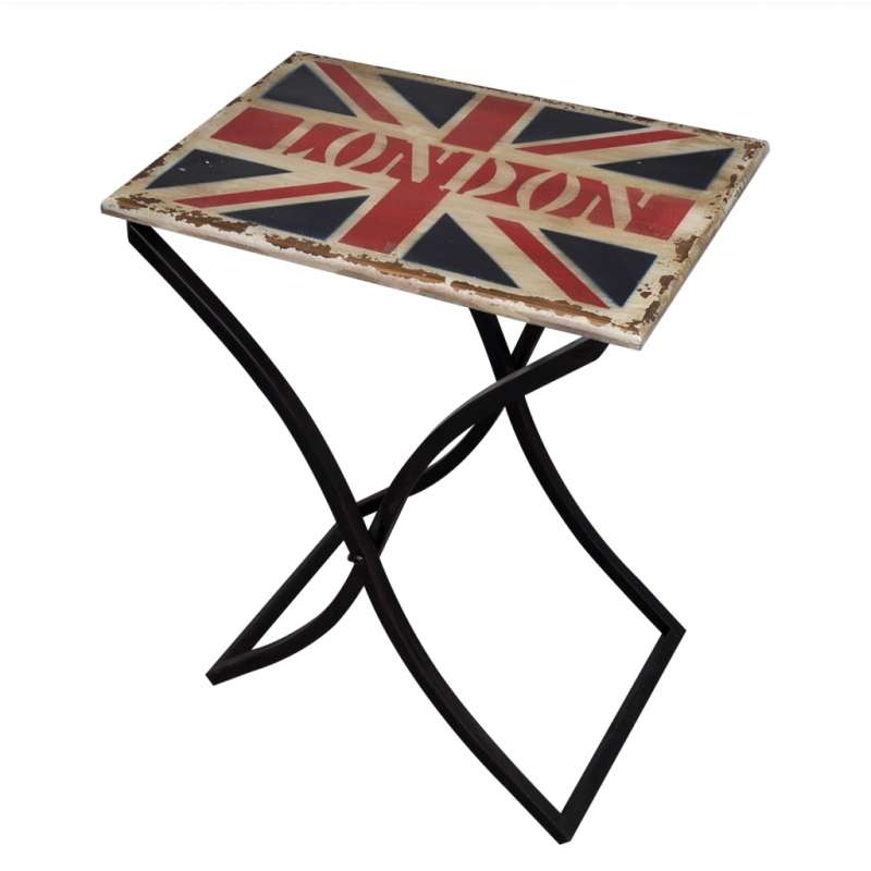 table basse london bois et pieds fer. Black Bedroom Furniture Sets. Home Design Ideas