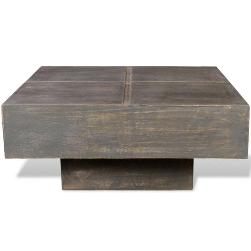Table basse carr e en bois de manguier - Table basse carree bois exotique ...