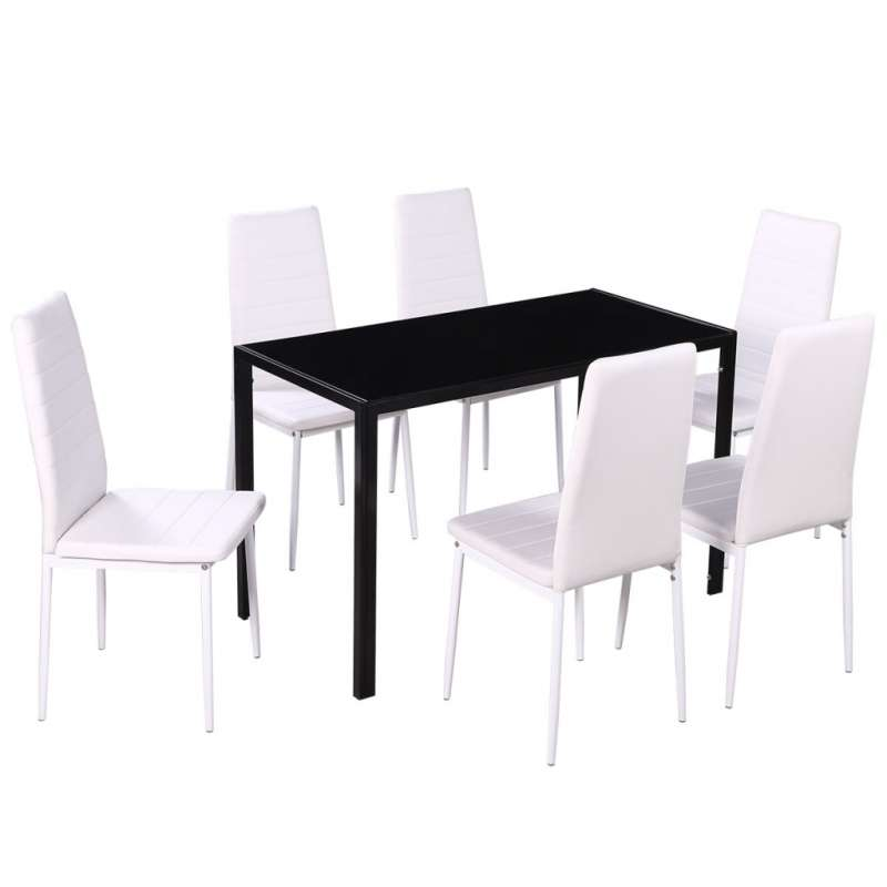 Ensemble d 39 une table noir et 6 chaises blanches for Table 6 chaises but