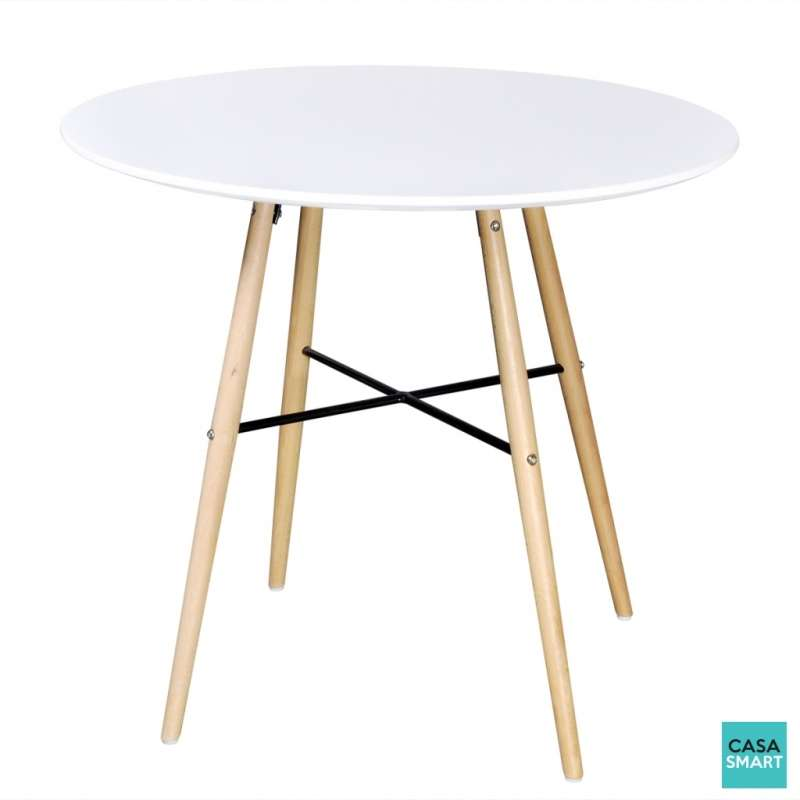 table ronde moderne avec pieds en bois blanc casasmart. Black Bedroom Furniture Sets. Home Design Ideas