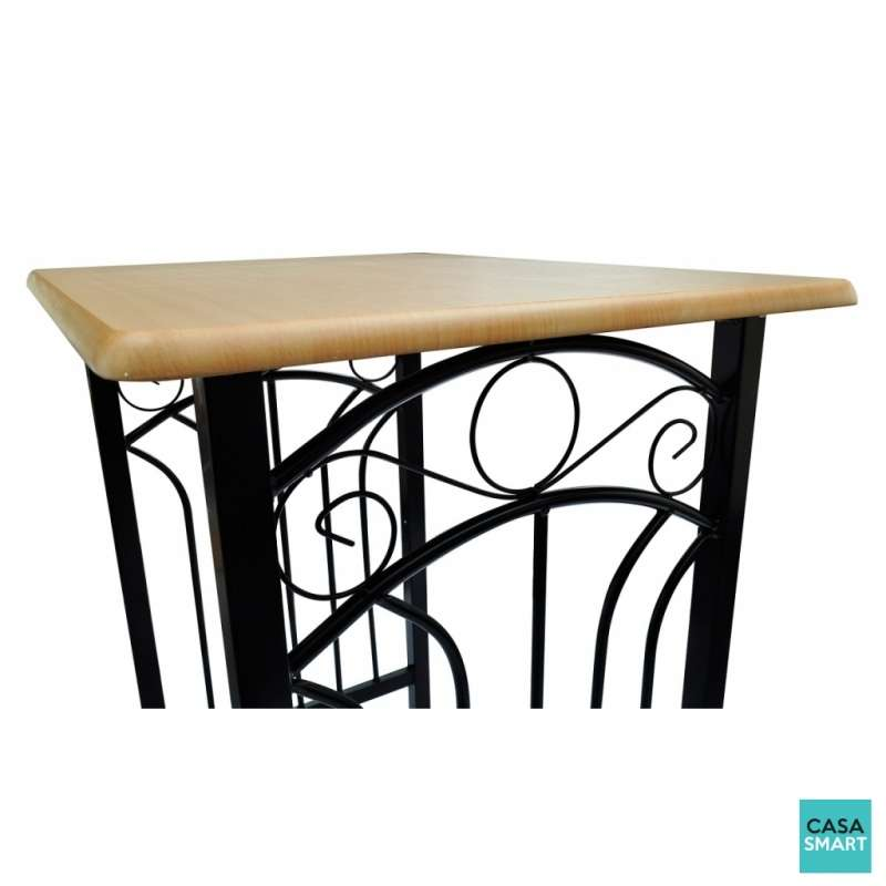 Ensemble table haute de bar acier et bois 2 chaises - Ensemble table bar ...