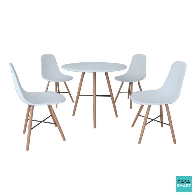 Ensemble lovy table ronde 4 chaises blanches for Ensemble table et chaise blanche