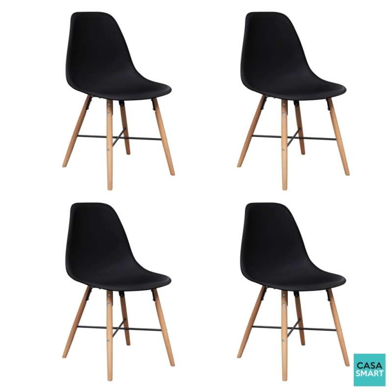 Ensemble lovy table ronde 4 chaises noires for Ensemble table ronde 4 chaises