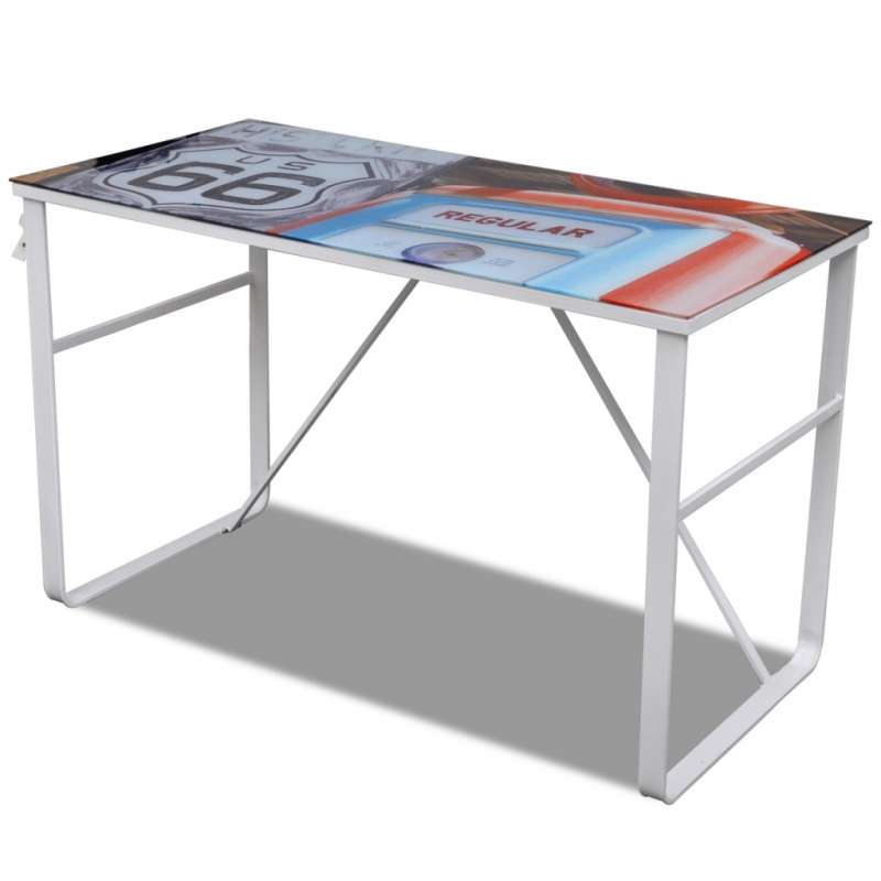 Table de bureau rectangulaire en verre trempé et fer CS2411631